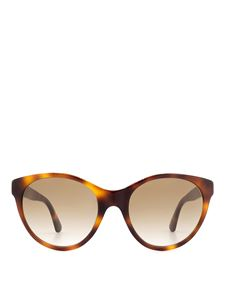 Gucci - Crystal logo acetate sunglasses in brown