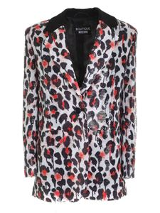Moschino Boutique - Animalier print and sequins jacket in black an white