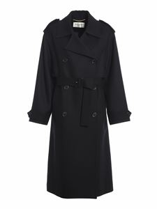 Saint Laurent - Wool double-breasted trench coat in black