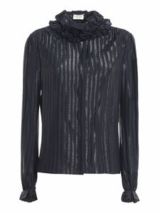 Saint Laurent - Ruched collar silk blend shirt in blue