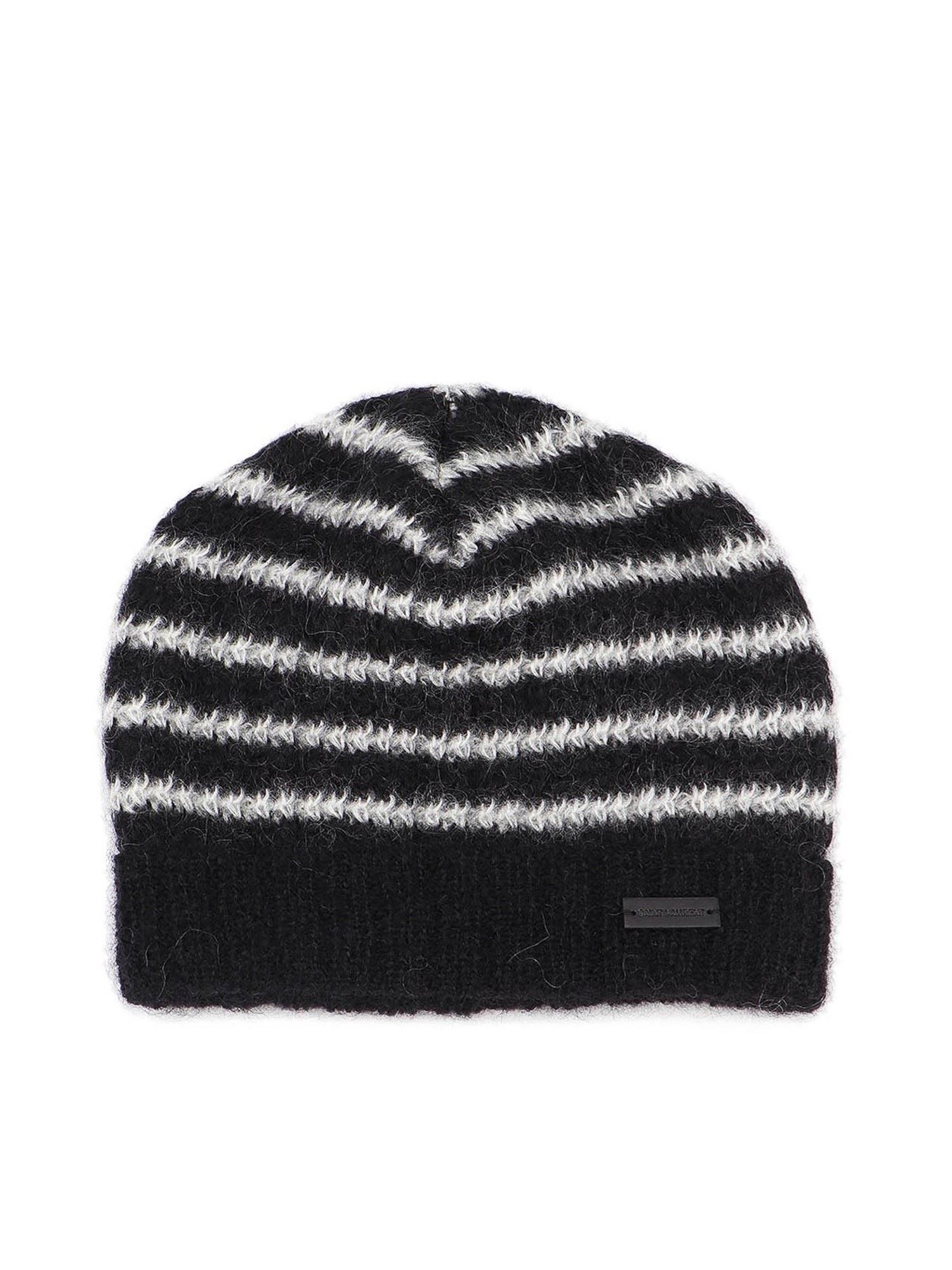 Saint Laurent STRIPED BEANIE IN BLACK AND WHITE
