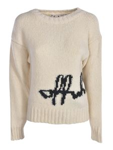Off-White - Pullover in ivory color with logo intarsia