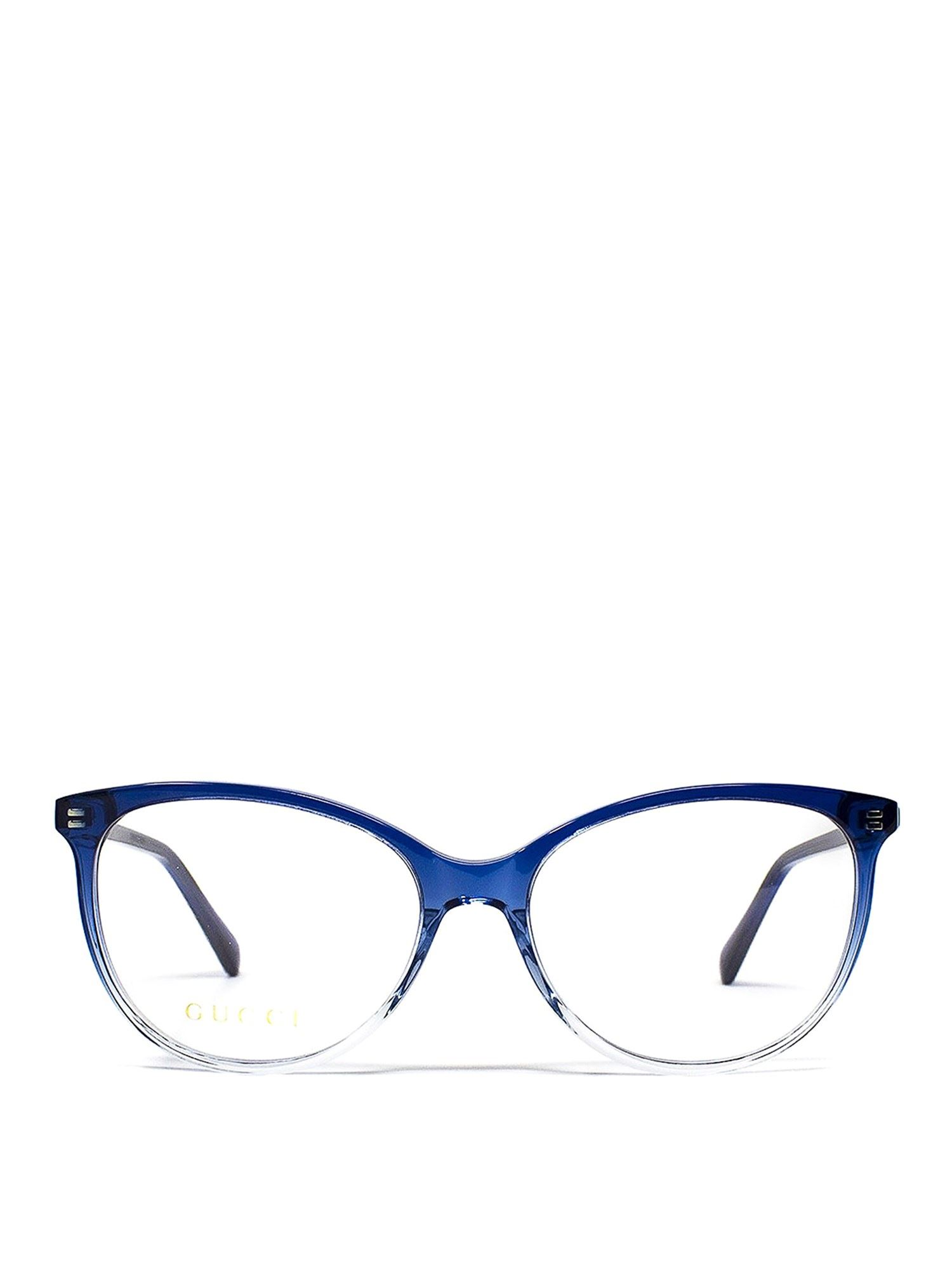 GUCCI TWO-TONE ACETATE OVAL OPTICAL GLASSES