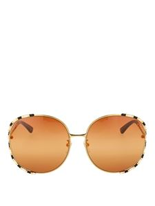 Gucci - Round orange sunglasses with two-tone frame