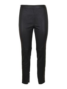 Givenchy - Black leather leggings with studs