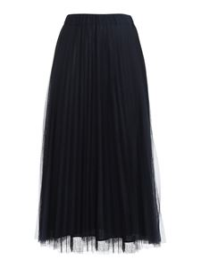 Parosh - Tulle pleated midi skirt in blue