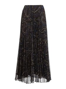 Parosh - Paisley print pleated skirt in brown