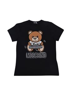 Moschino Kids - T-shirt nera stampa Teddy Game Logo