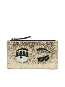 Chiara Ferragni - Flirting glitter pouch in gold color