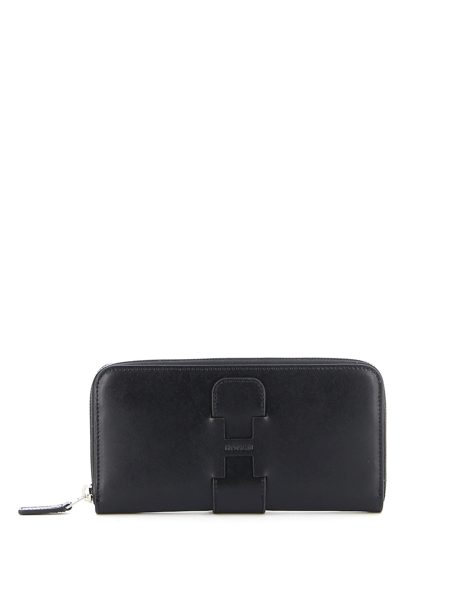 Hogan LEATHER CONTINENTAL WALLET IN BLACK