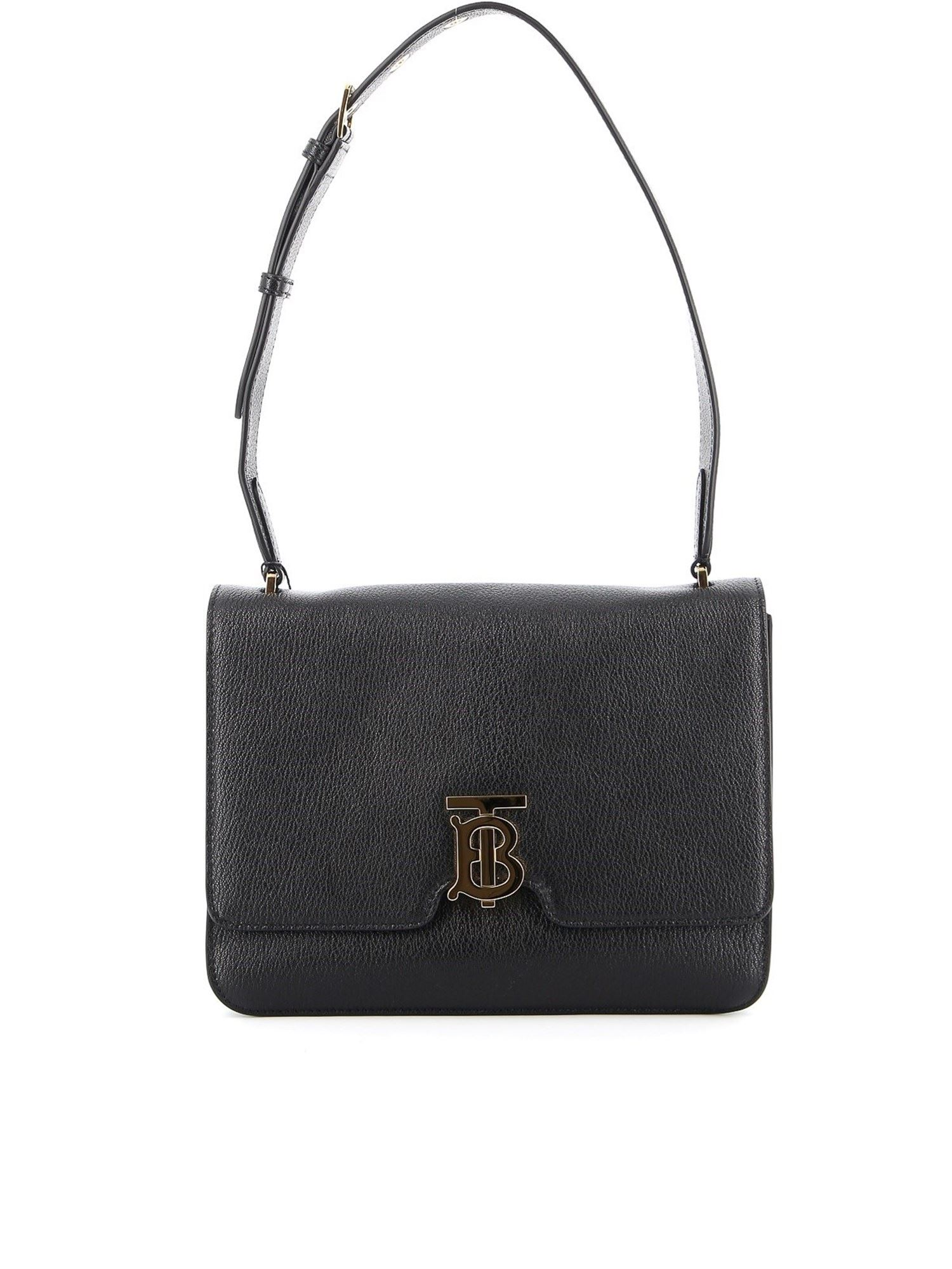 Burberry Alice Hammered Leather Bag In Black