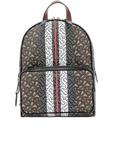 Burberry - Monogram printed e-canvas backpack in brown