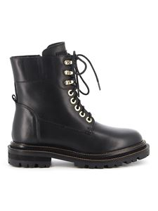 Twin-Set - Zpped leather combat boots in black
