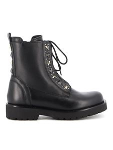 Twin-Set - Studded leather combat boots in black
