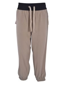 Moncler - Pantalone in crepe beige con bande laterali