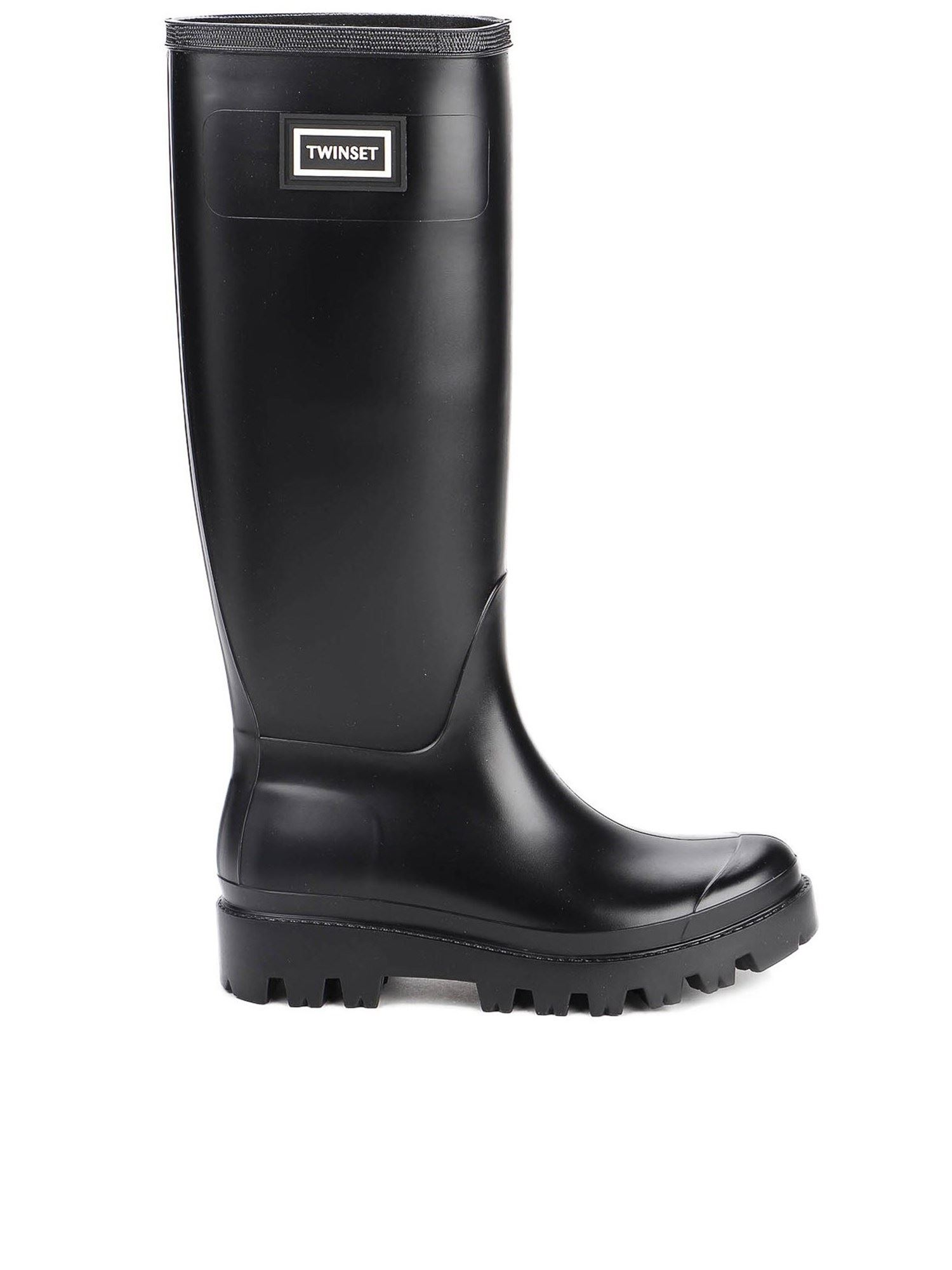Twinset LOGO PATCH RAIN BOOTS IN BLACK