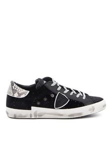 Philippe Model - Prsx glitter velvet sneakers in black
