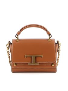 Tod's - Mini borsa in pelle con fibbia T marrone