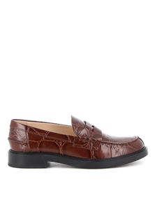 Tod's - Croco print college loafers in brown