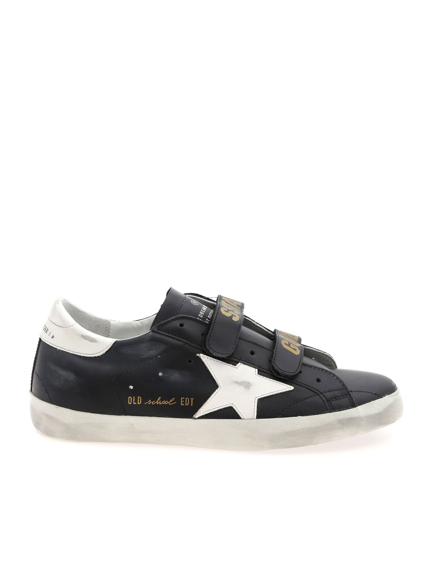 Golden Goose Leathers OLD SCHOOL BLACK SNEAKERS WITH WHITE STAR