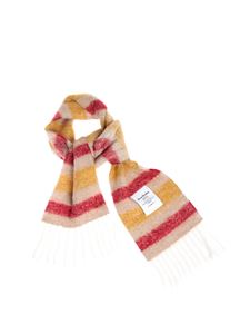 Acne Studios - Striped scarf in beige red yellow