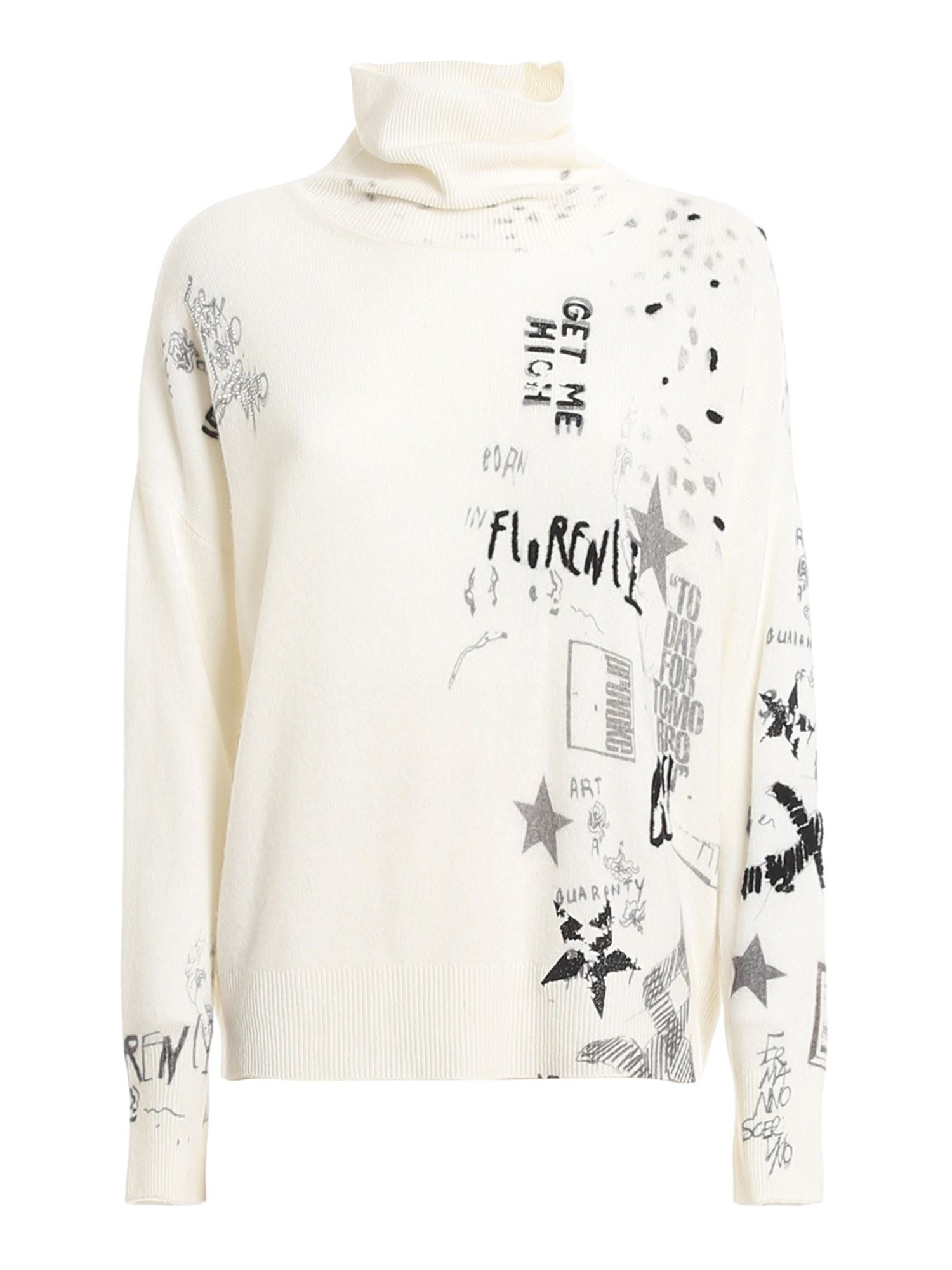 Ermanno Scervino GRAFFITI PRINT JUMPER IN WHITE