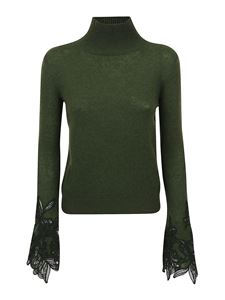 Ermanno Scervino - Floral lace embroidered sleeves sweater