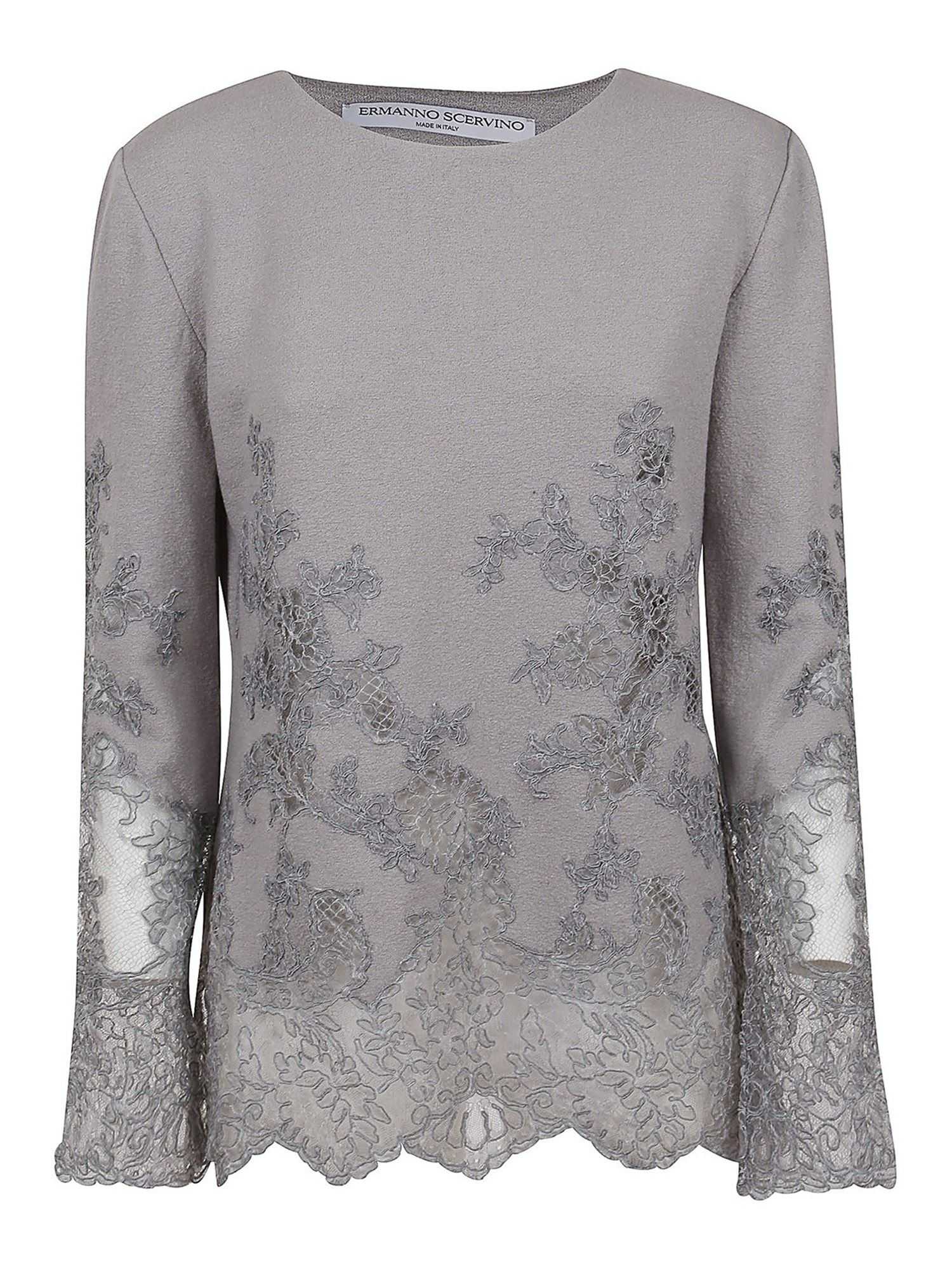 Ermanno Scervino FLORAL LACE EMBROIDERY BLOUSE