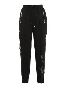 Ermanno Scervino - Lace detailed joggers style pants in black