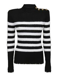 Balmain - Pullover destroyed a righe nero