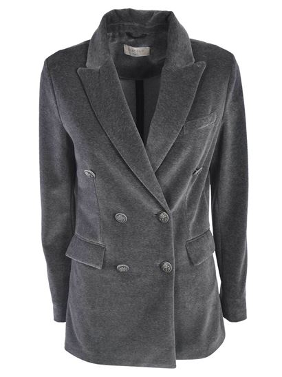 Circolo 1901 - Double-breasted jacket in grey velvet