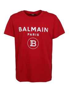 Balmain - Logo lettering T-shirt in red