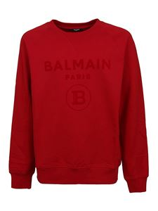 Balmain - Logo crewneck sweatshirt in red