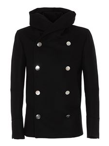 Balmain - Wool blend peacoat in black