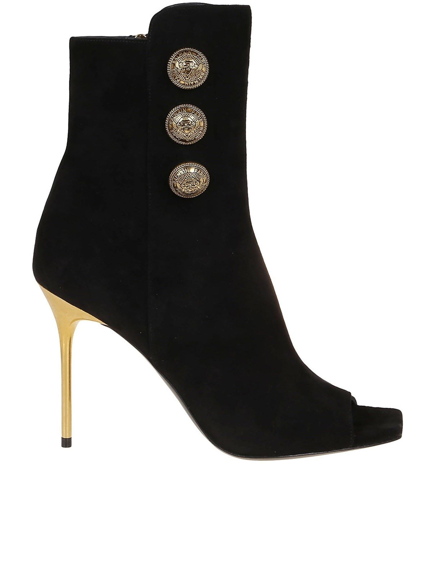 BALMAIN ROMA OPEN TOE BOOTIES IN BLACK