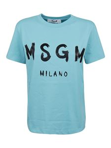 MSGM - T-shirt azzurra con stampa logo lettering