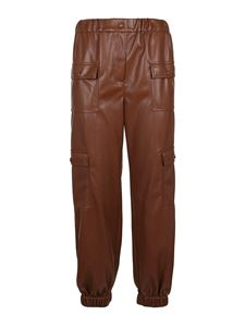 MSGM - Faux leather cargo pants in brown