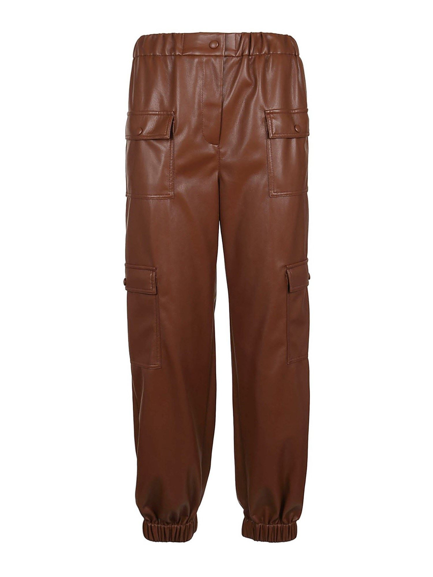 Msgm Leathers FAUX LEATHER CARGO PANTS IN BROWN