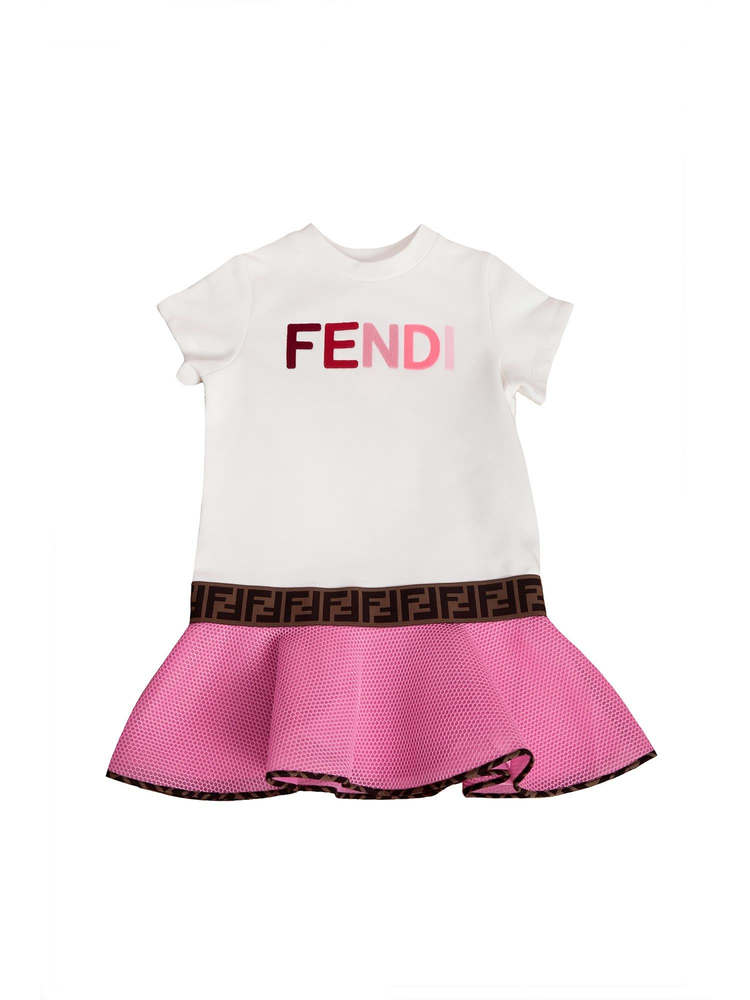 Fendi Jr WHITE DRESS WITH MESH SKIRT