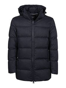 Herno - Quilted blue down jacket featuring hood