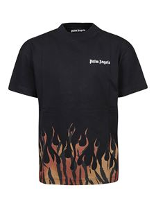 Palm Angels - Tiger Flames cotton T-shirt in black