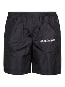 Palm Angels - Boxer da mare in nylon stampa logo neri