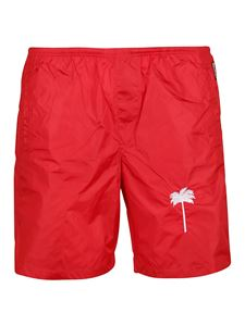 Palm Angels - Palm print nylon swim shorts in red