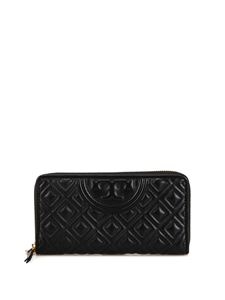 Tory Burch - Fleming black quilted leather zipped wallet in black
