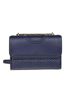 Tory Burch - Fleming quilted leather small cross body bag in blue