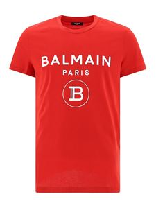 Balmain - Rubberised logo lettering T-shirt in red