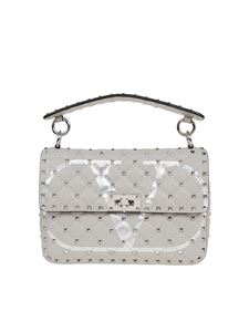 Valentino - Rockstud Spike medium bag in light grey