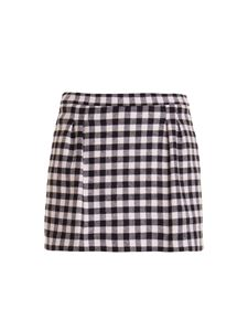 Red Valentino - Vichy print wool blend shorts in black and white