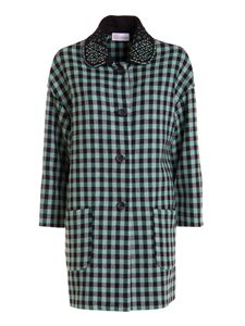 Red Valentino - Vichy wool blend coat in green