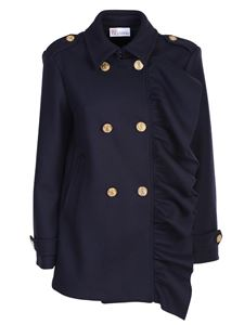 Red Valentino - Ruffled wool and cashmere cloth peacoat in dark blue